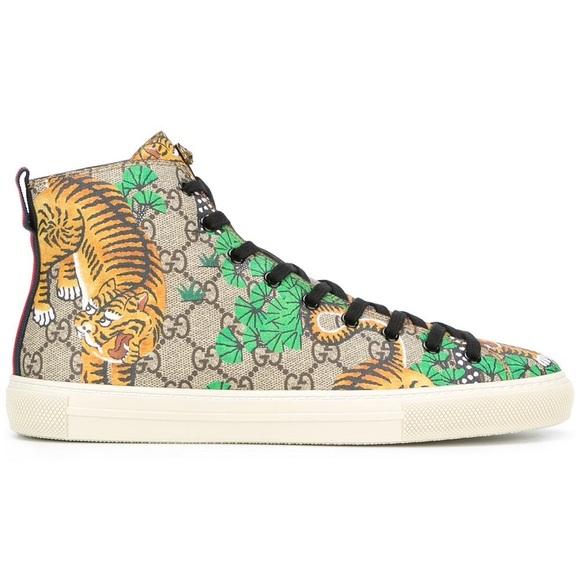 b63c61670b9 New Gucci Supreme Tiger Canvas High Top Sneakers